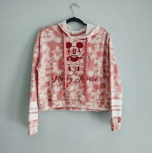 Mickey Mouse Disney Pink Crop Top Hoodie Size XL